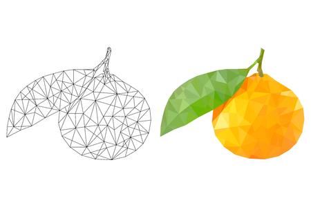 Orange polygonal illustration. Stock Illustratie