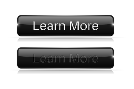 Black button LEARN MORE. Active and normal. Vector illustration isolated on white background Çizim