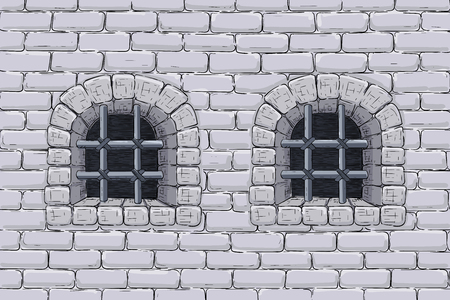 Old brick wall with barred windows. Hand drawn sketch. Vector illustration Illustration