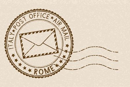 Postal stamp, round brown postmark with envelope icon. ROME, Italy Vektoros illusztráció