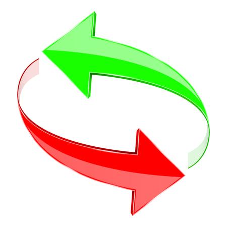 Strzałki, znak obiegowy. Czerwone i zielone. 3d ilustracja wektorowa na białym tle