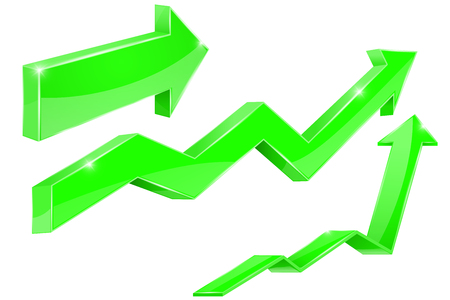 Arrows in  Green financial indication arrows