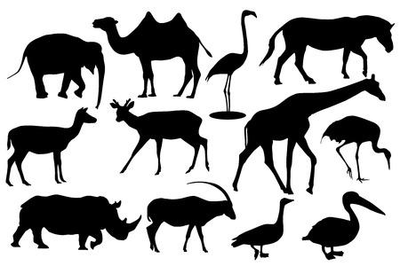 Wild animals and birds. Black silhouette icons Illustration