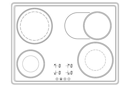 Oven cooktop. Outline drawing