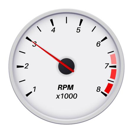 Tachometer icon. Car dashboard white gauge. White