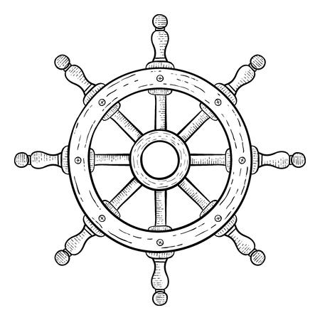 Lenkrad für Schiffe und Boote . Hand gezeichnete Skizze