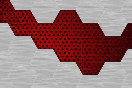 Metal brushed background with red perforation