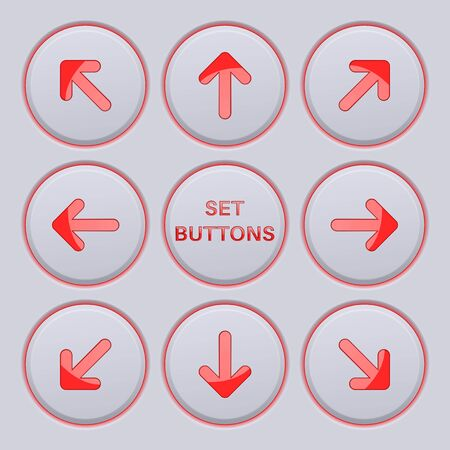 Arrows key pad. Red icons on gray buttons