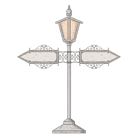 Vintage lamp post  Hand drawn sketch isolated on white background