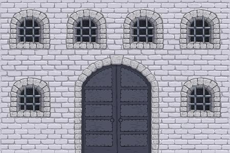 Muralla del castillo medieval con puertas y ventanas enrejadas. Boceto dibujado a mano
