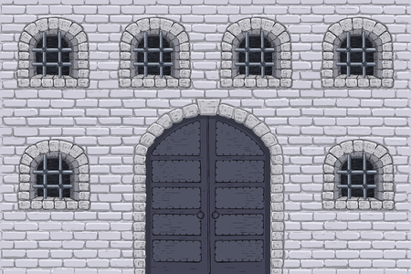 Medieval castle wall with doors and barred windows. Hand drawn sketch Illustration