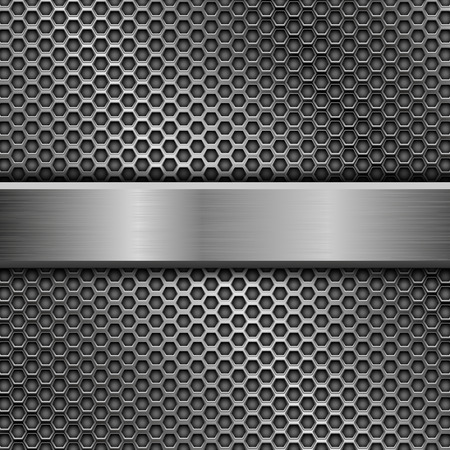 Steel long plate on perforated background isolated on white background