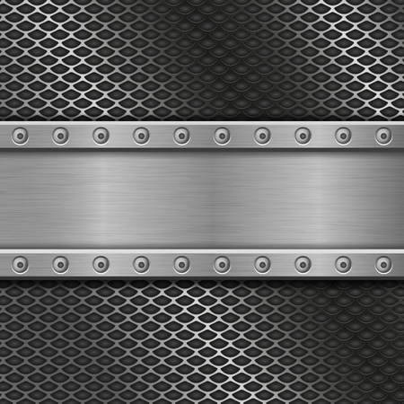 Metal perforated background with rivets 向量圖像