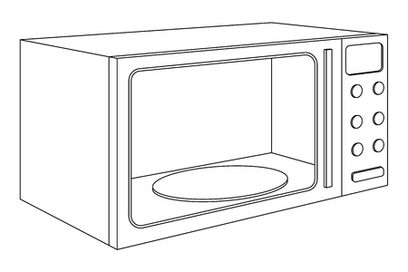 Microwave oven outline drawing 向量圖像