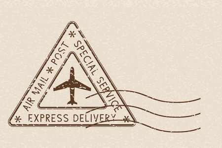 Air mail triangle postmark Express Delivery. Brown postmark on beige background