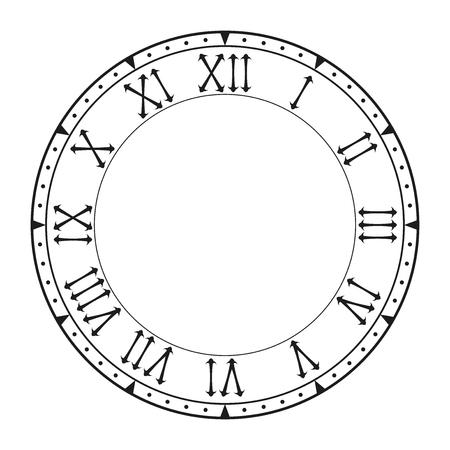 Zifferblatt auf schwarzer leeren Uhr mit römischen Ziffern isoliert auf weißem Hintergrund