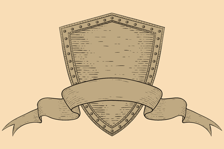 Shield with blank ribbon banner, on beige background on Hand drawn sketch isolated on plain background