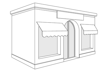 Store front. Small shop with large window and awnings. Outline drawing