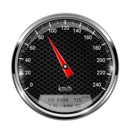 Speedometer. Round black gage with metal frame