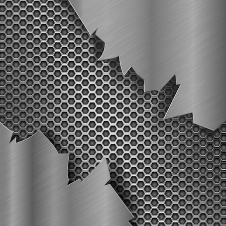 Metal perforated background with torn metal edges