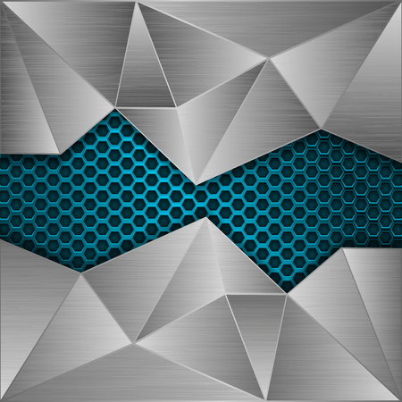 Blue metal perforated background with brushed metal polygonal elements