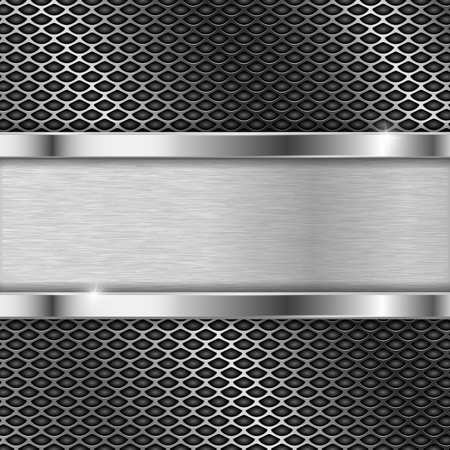 Stainless steel plate on perforated background