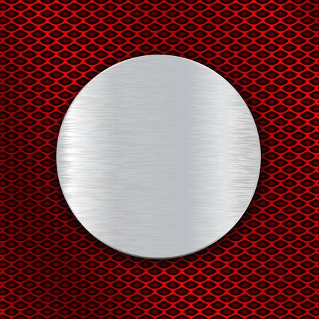 Placa redonda de metal cepillado sobre fondo rojo perforado