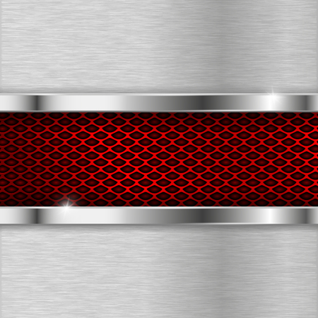 Metal brushed elements with red perforation. Industrial metallic backround