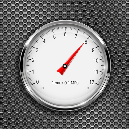 Manometer. Round gauge with metal frame on perforated background Vector Illustration