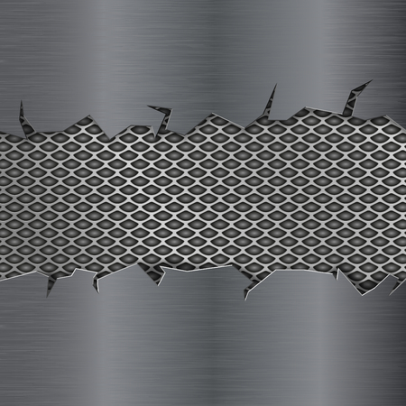 Metal texture with torn edges and perforation