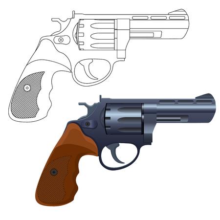 Revolver gun outline icon and 3d model Illustration