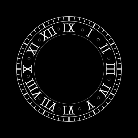 Clock with roman numerals. Vector illustration on black background Stock Illustratie