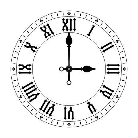 Clock. Black clock face with roman numerals