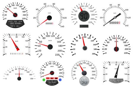 スピードメーターとタコメーターのスケール。大型コレクションデザイングラフィックイラストベクトル