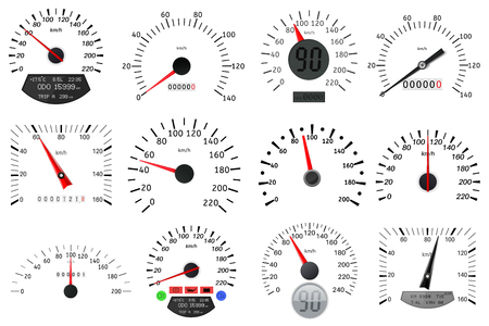 Speedometer and tachometer scales. Large collection design graphic illustration vector Ilustracja