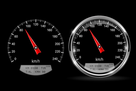 Speedometers. Round black gauge with and without chrome frame