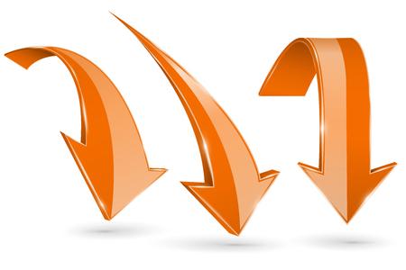 Orange down arrows. Set of 3d web shiny icons illustration on white background.