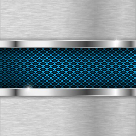 Metal background with blue perforation illustration.