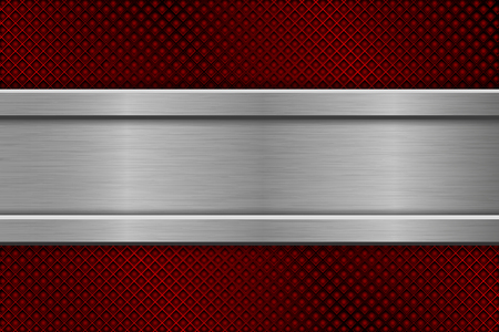Red perforated background with metal plate illustration.