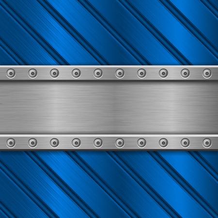 Blue metal background. Stainless steel texture with rivets and diagonal stripes.