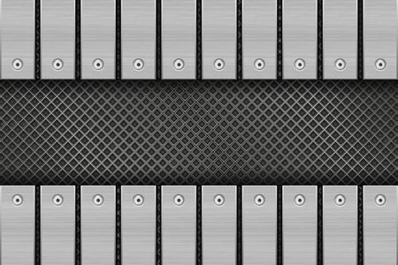 Metal perforated background with rivetted plates