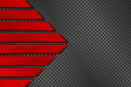 Textura de metal con perforación y placas de plata cepilladas rojas. Ilustración de vector