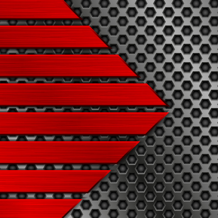 Textura de metal rojo con ilustración de perforación.