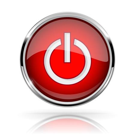 Red round media button vector illustration Illustration