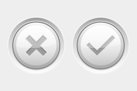 White round web buttons. Delete and Submit. Vector 3d illustration