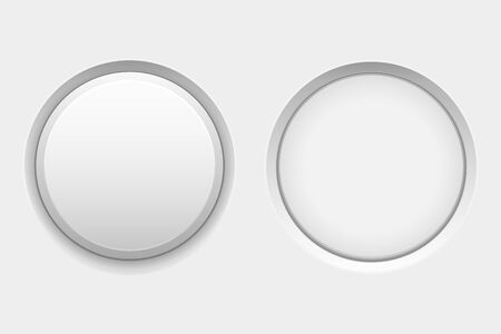 White round buttons. Web interface plastic blank buttons, normal and pushed. Vector 3d illustration