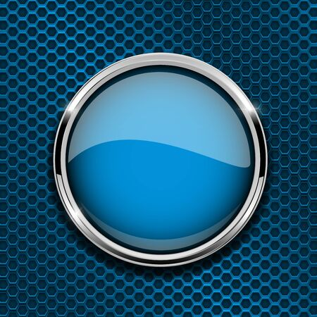 Blue round button with metal frame vector illustration