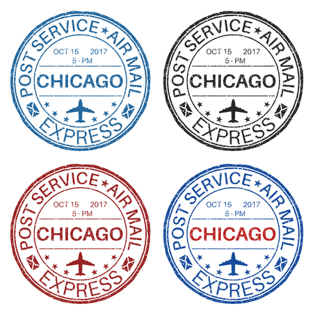 CHICAGO postmarks. Set of colored ink stamps