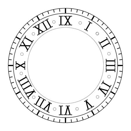 Uhr mit römischen Ziffern Vektorgrafik