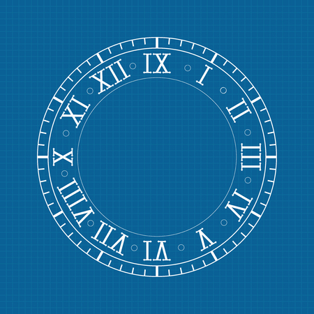 Clock with roman numerals on blue backgroud Stock Illustratie